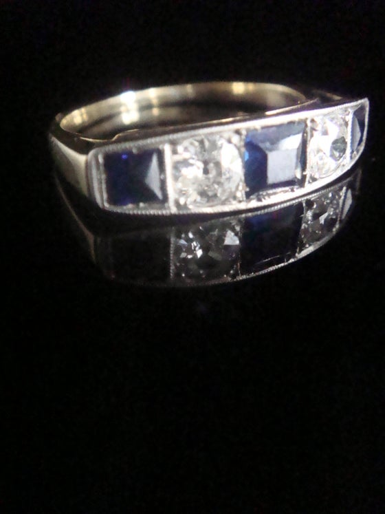 Image of ART DECO 18CT PLATINUM SAPPHIRE AND DIAMOND 0.60ct 5 STONE BAND LARGE