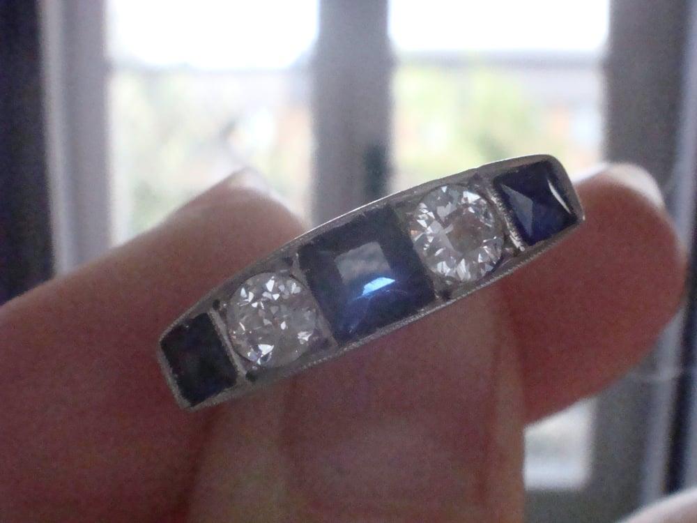 Image of ART DECO 18CT PLATINUM SAPPHIRE AND DIAMOND 0.60ct 5 STONE BAND LARGE