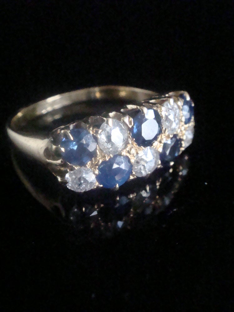 Image of Edwardian 18ct yellow gold old cut diamond and natural sapphire boat stacking ring