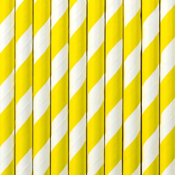 Image of Pajitas de papel rayas amarillas