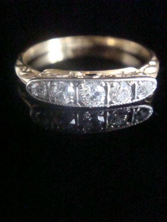 Image of Edwardian Art deco 18ct yellow gold platinum diamond 0.45ct 5 stone ring