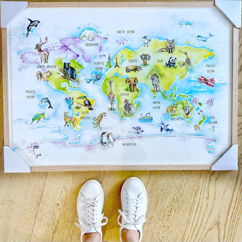 Image of Animal World map print