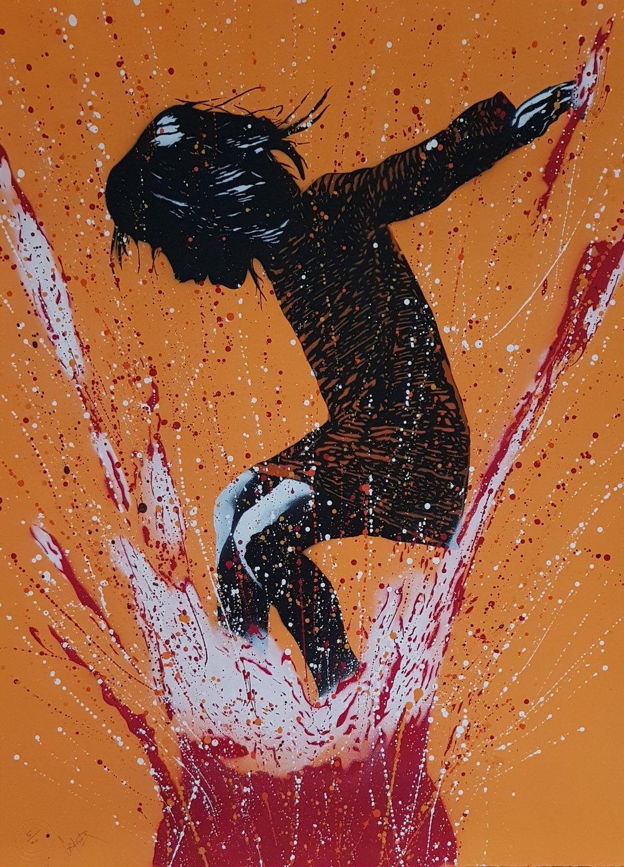 "Image of GRAFTER ""SPLASH"" ORANGE - HAND PAINTED UNIQUE EDITION OF 20 - 75CM X 57CM"