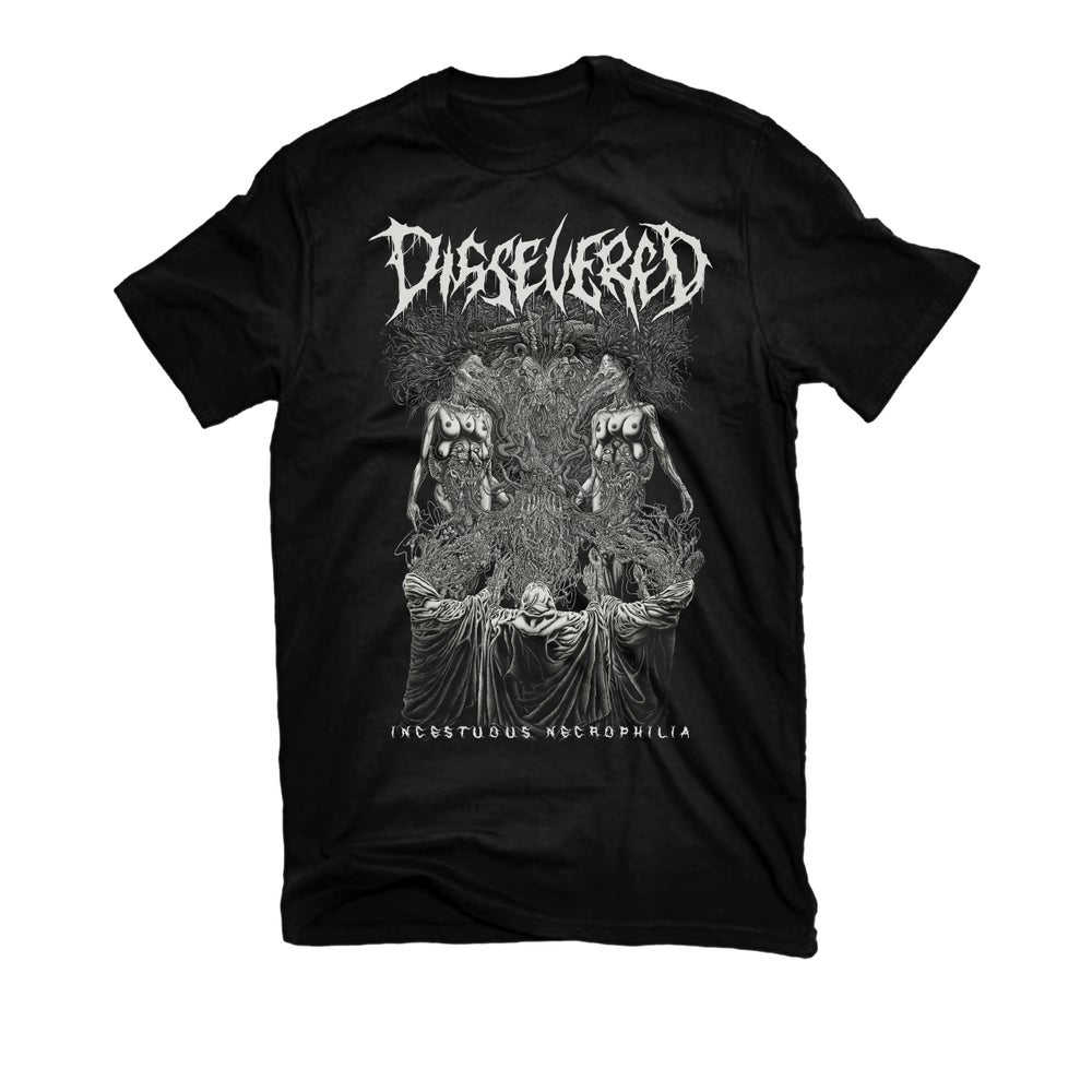 "Image of DISSEVERED ""INCESTUOUS NECROPHILIA"" T-SHIRT"