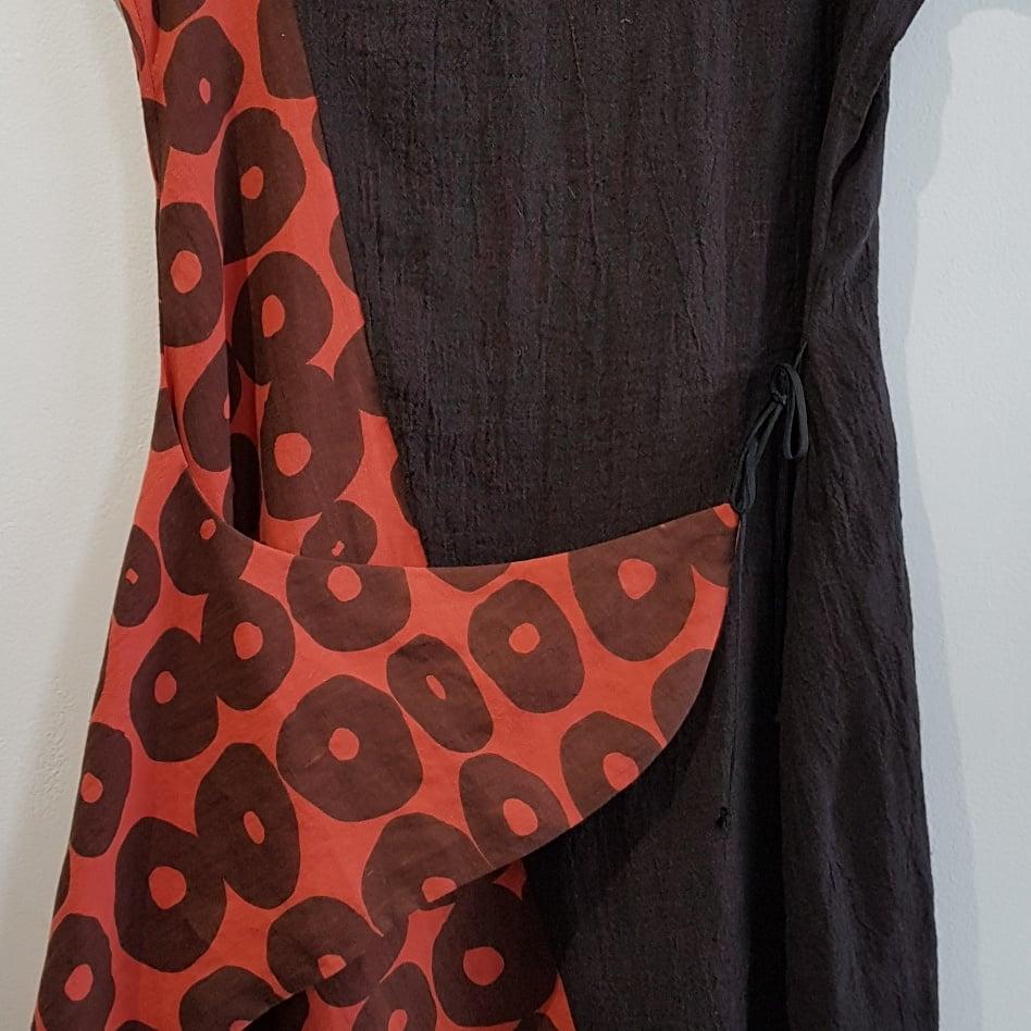 Image of asymmetrical espresso linen dress/tunic