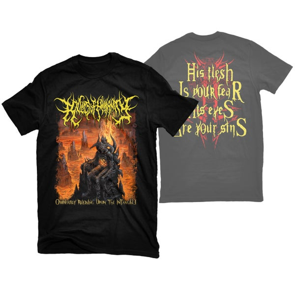 "Image of RELICS OF HUMANITY ""OMINOUSLY REIGNING"" T-SHIRT"