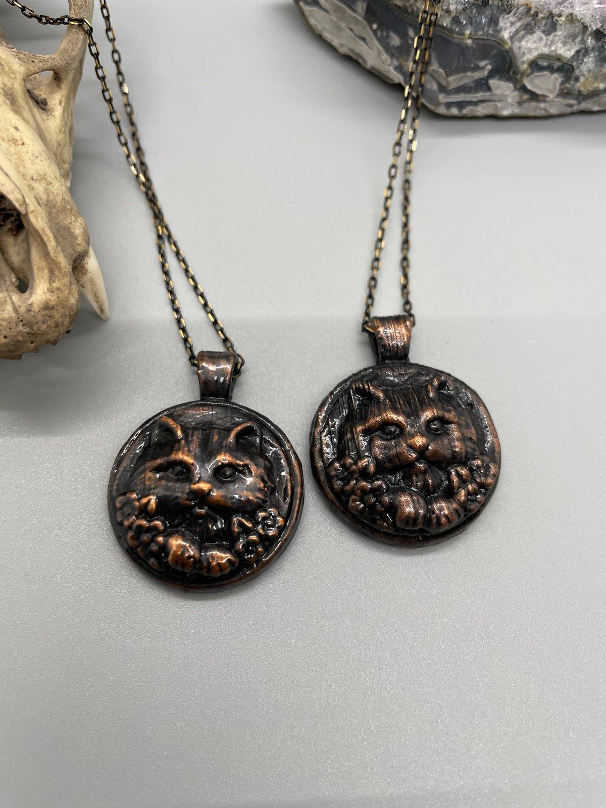 Image of Electroformed kitten pendant