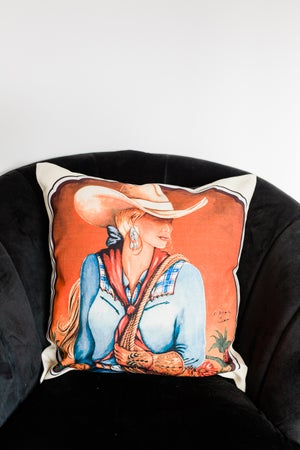Image of 'Dolly' the Cowgirl Cushion Cover