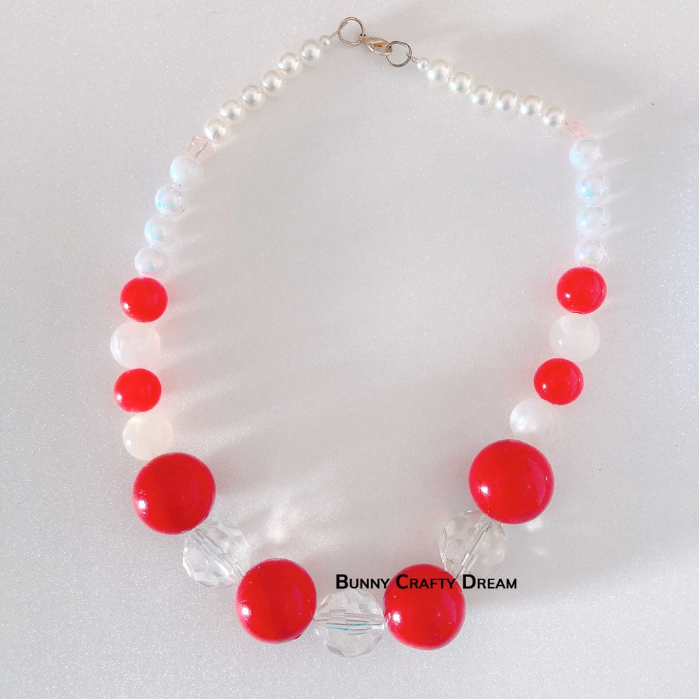 Image of Chunky Cherry and White Necklace