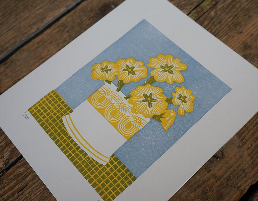 Image of Persephone Primrose Pot - Yellow - Linocut