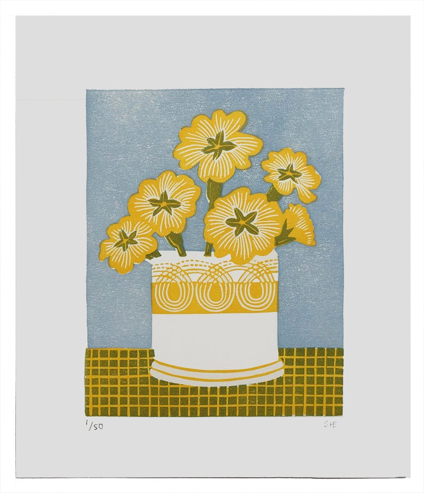 Image of Persephone Primrose Pot - Yellow - Linocut