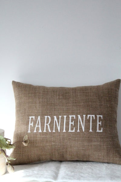 Image of Coussin lin bronze 'FARNIENTE' (CSS1BRONZ1)