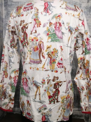 Image of DAY OF THE DAED, skeletons having a celebration, soft cotton long sleeve slim fit mens shirt