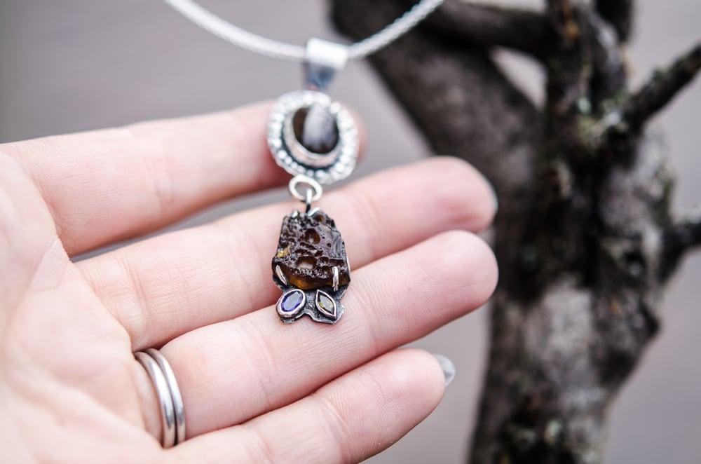 Image of labradorite, sea glass, and sapphire pendant