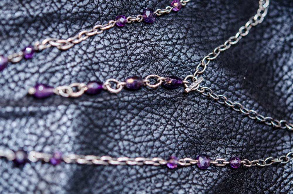 Image of bat labradorite and amethyst necklace