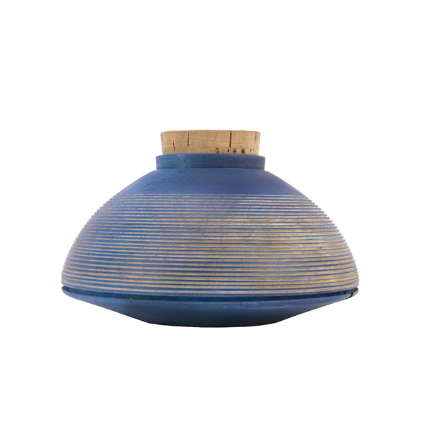 Image of BLUE DYED MAPLE CANISTER WITH CONCENTRIC LINES