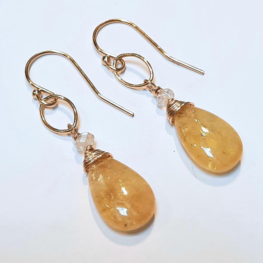 Image of 14k Gold-fill and Yellow Aquamarine Earrings