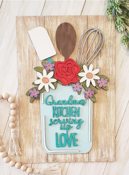 Image of Personalized Kitchen Serving Up Love 3D Project on Faux Shiplap