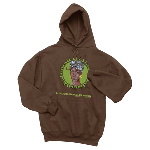 Image of Respect Protect Black Women chocolate hoodie