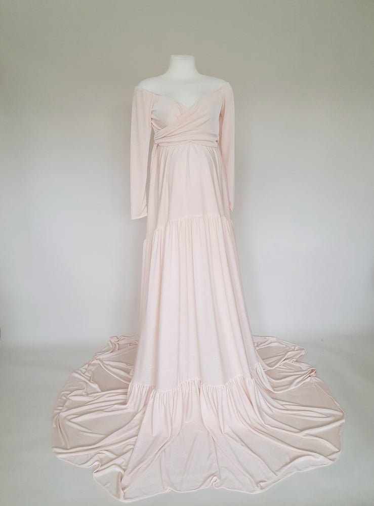 Image of Soft peach maternity dress. Ready to post