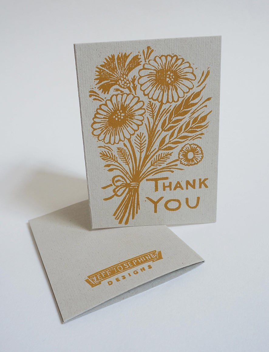 Image of 'Thank You' Greetings Cards - Hand Printed