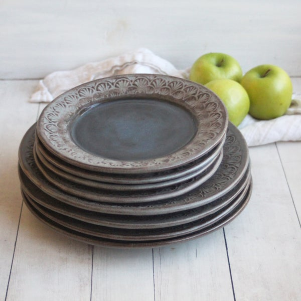 Image of Custom Order for Kara - 4 Dinner and 4 Salad Plates, in Charcoal Rustic Modern Design