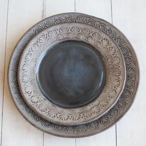 Image of Custom Order for Kara - 4 Dinner and 4 Salad Plates, in Charcoal Rustic Modern Design