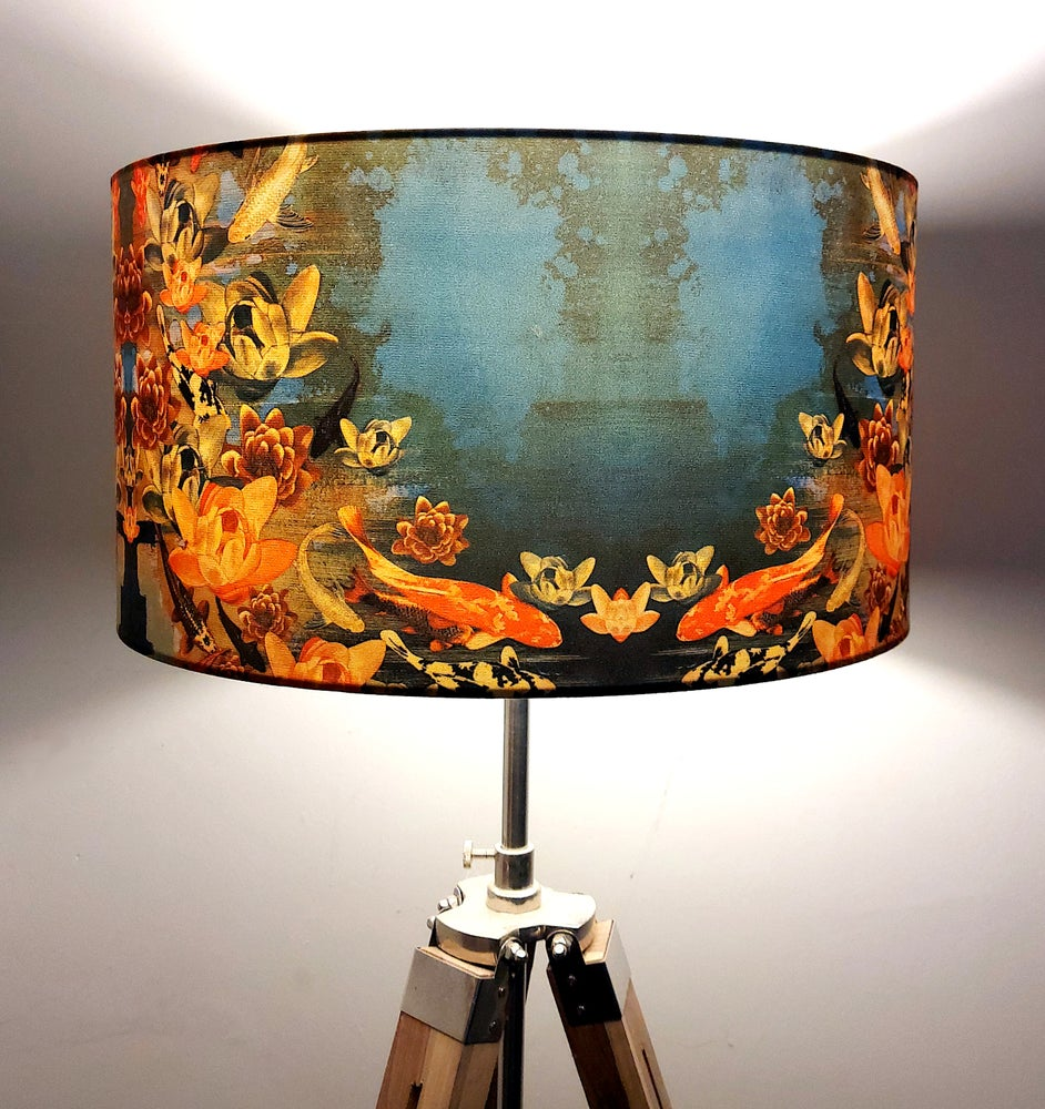 Image of Koi Pond Drum Lampshade by Lily Greenwood (45cm, Floor/Standard Lamp or Ceiling)
