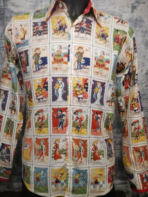 Image of Day Of The Dead cards, long sleeve men shirt, slim fit tailored red trim sleeves and collar
