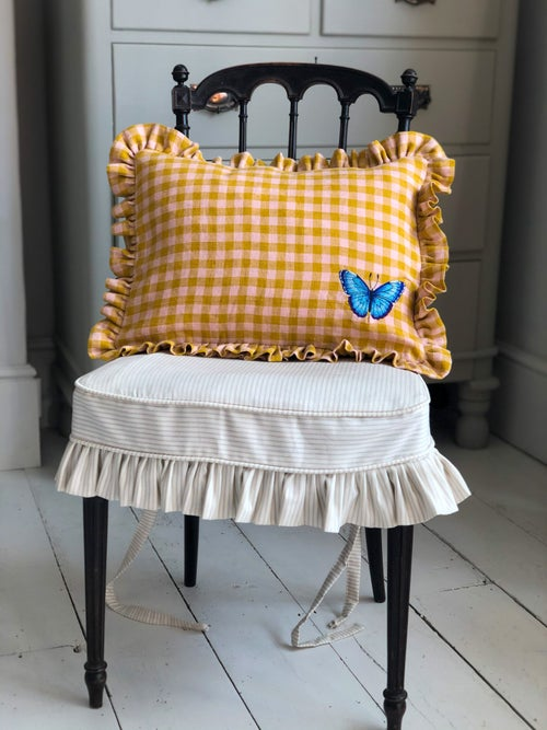 Image of Embroidered gingham Butterfly Cushion