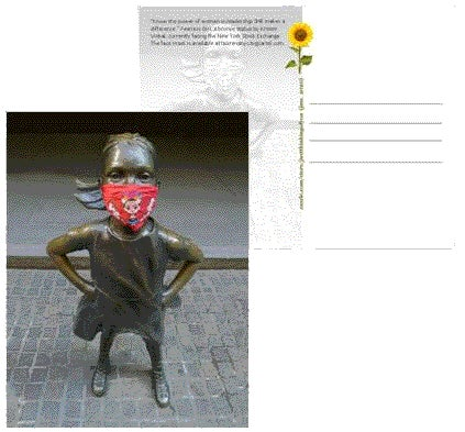 Image of Fearless Girl post card with Frida Kahlo face mask