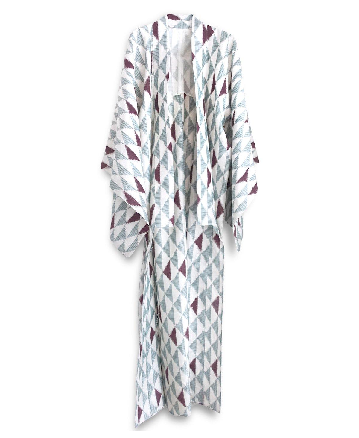 Image of Ikatvævet silke kimono - råhvid /grå/ bordeaux farvede felter
