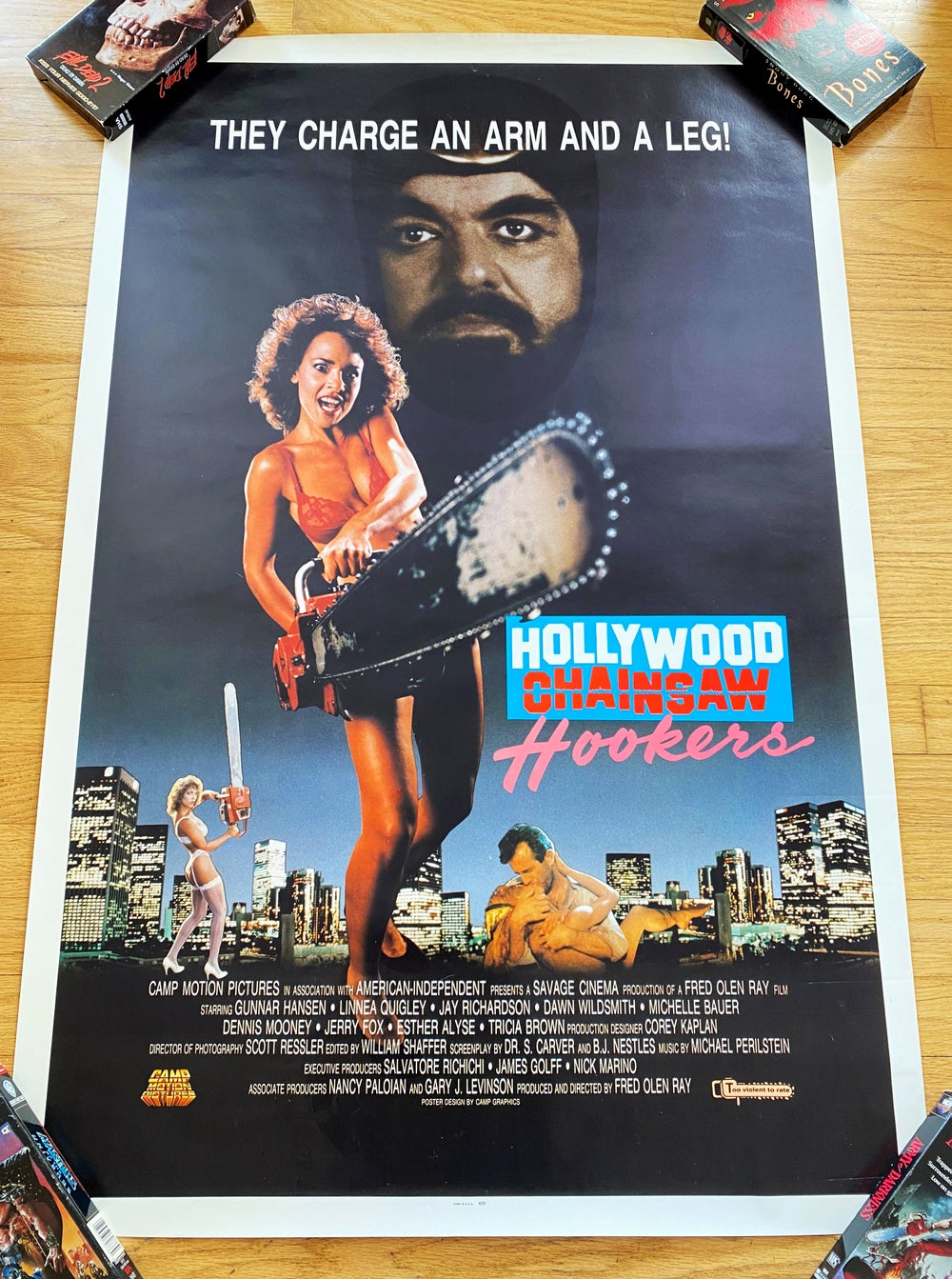 1988 HOLLYWOOD CHAINSAW HOOKERS Original U.S. One Sheet Movie Poster
