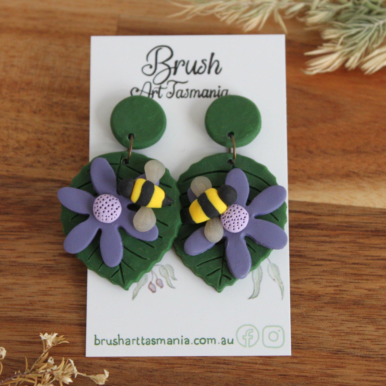 Image of Bee on Flower Earrings