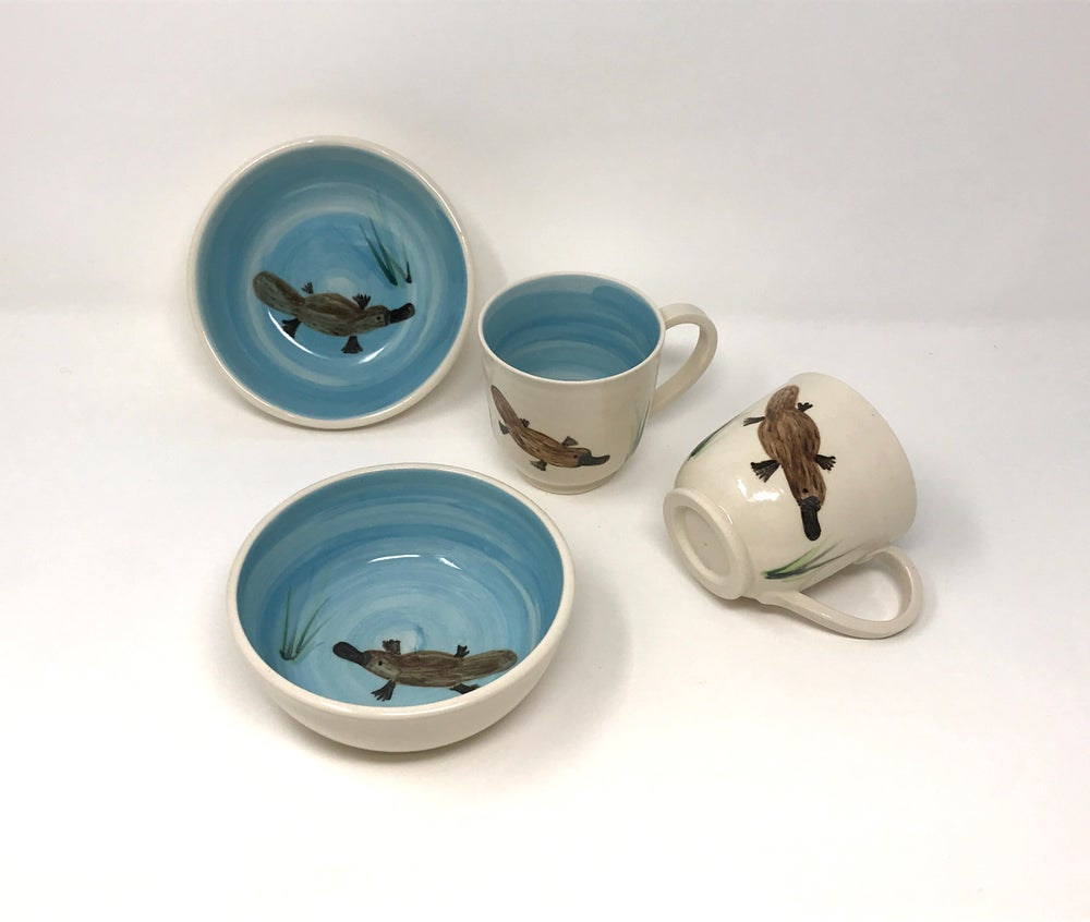 Image of Platypus Decorated cup and bowl