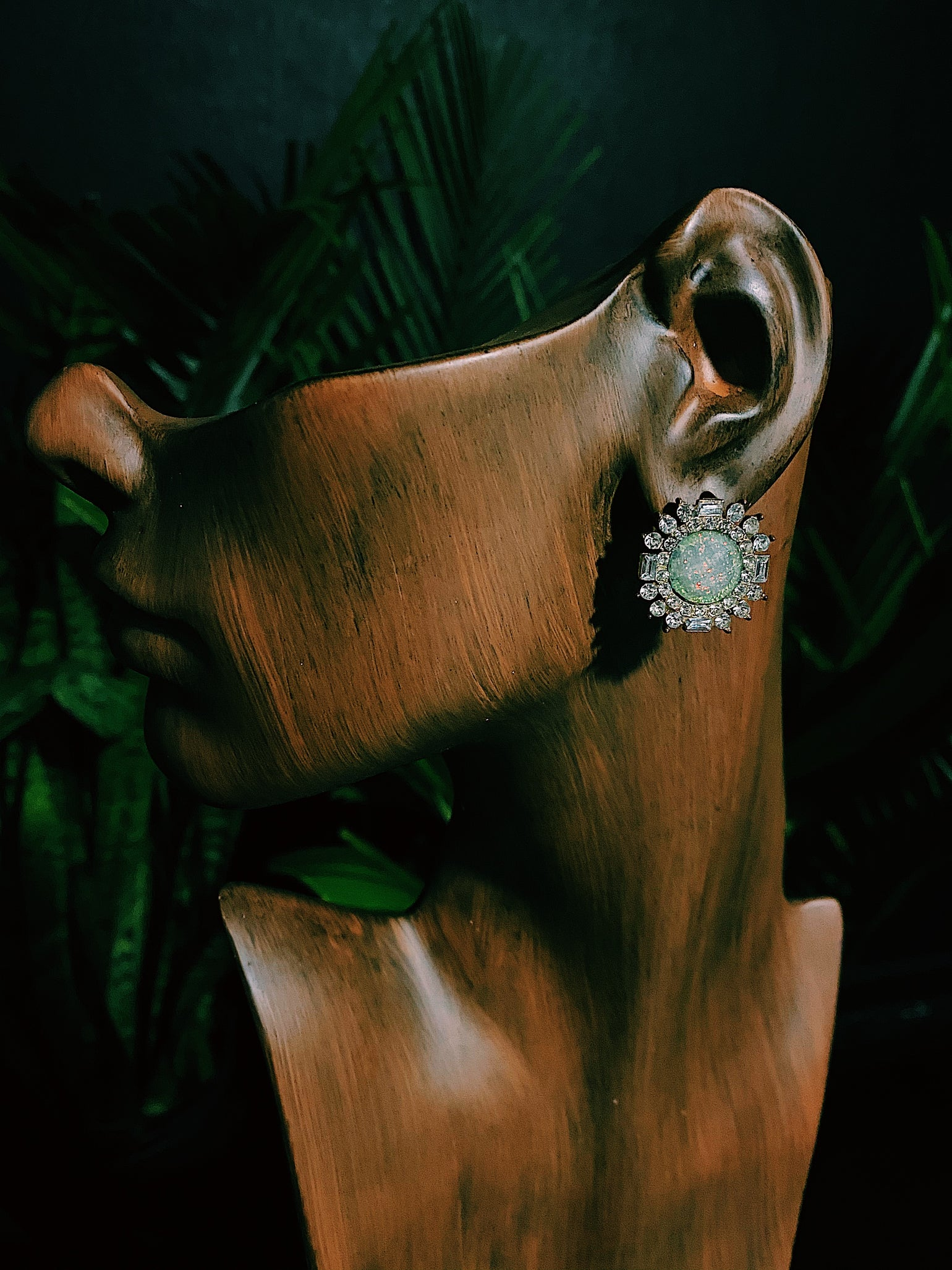 Image of VINTAGE IRIDESCENT GREEN STUDDED EARRINGS