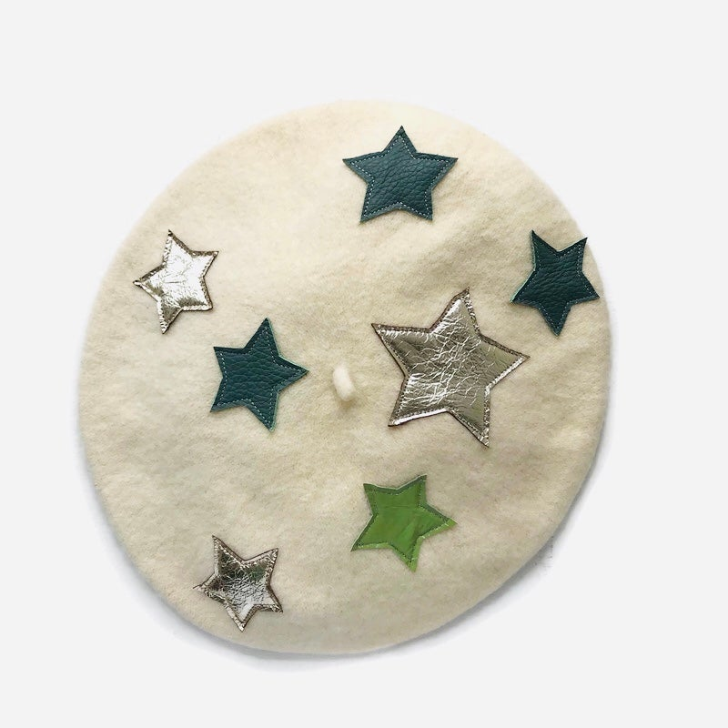 Image of Lucky Leather Star Wool Beret
