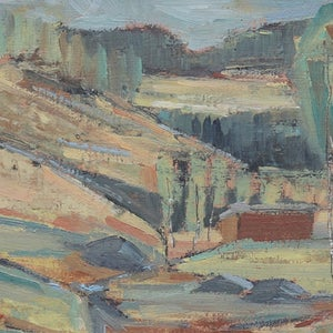 Image of Mid 20thC Oil Painting, Swedish Abstract Landscape