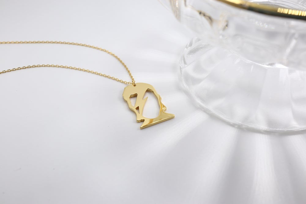 Bowie Inspired Gold Pendant and Chain (925 Silver)