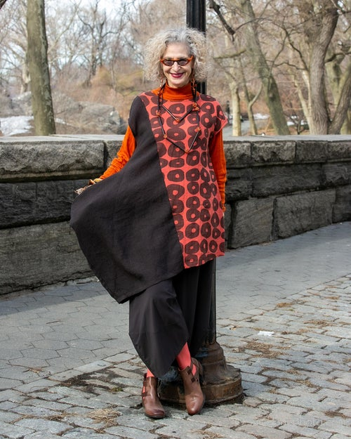 Image of asymmetrical linen dress/tunic...espresso