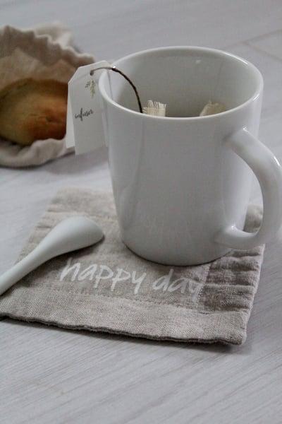 Image of Sous tasse en lin naturel HAPPY DAY (SSTSSHDAY)