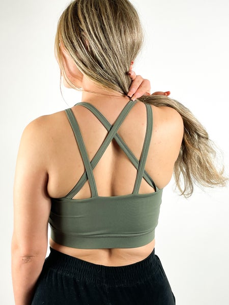 Image of DESIRE SPORTS BRA OLIVE GREEN