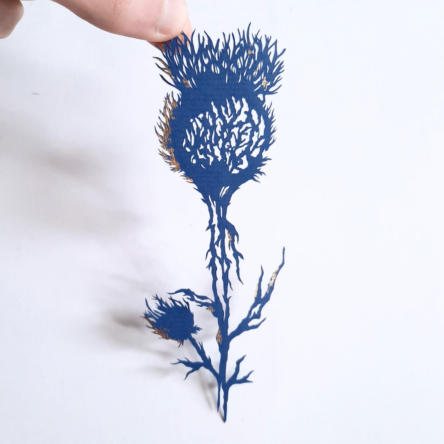 Image of Hand Cut Paper Thistle with Gold Foil