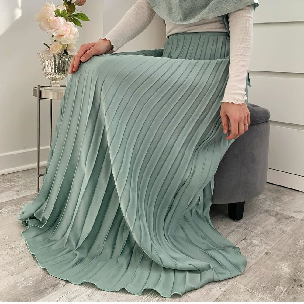 Image of Satin Pleated Maxi Skirt