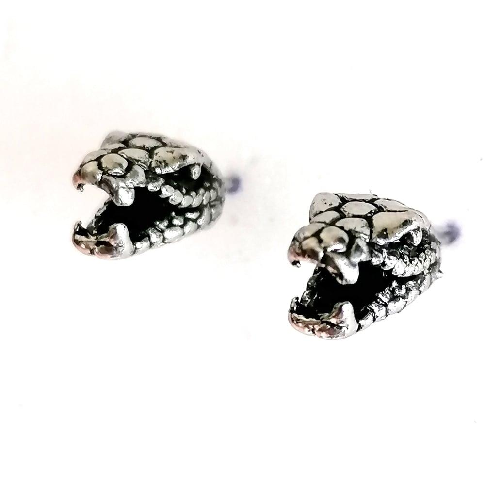 Image of Antiqued Silver Snake Head Stud Earrings