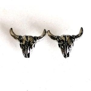 Image of Antiqued Silver Cow Skull Stud Earrings