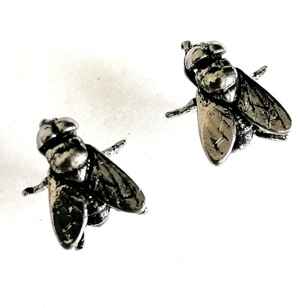 Image of Antiqued Silver Bluebottle Fly Stud Earrings