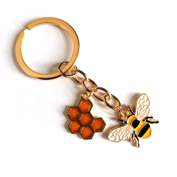Image of Golden Bumblebee Honeycomb Keyring