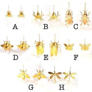 Image of Large Golden Insect Statement Earrings - Assorted