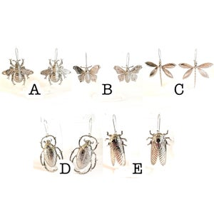 Image of Large Silver Insect Statement Earrings - Assorted